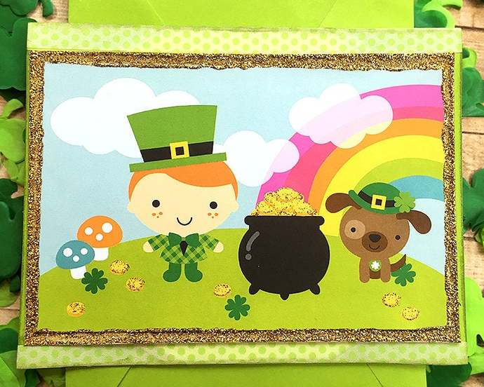 Pot of Gold St. Patrick's Day Greeting, Note Card, Irish, March 17, Rainbow,