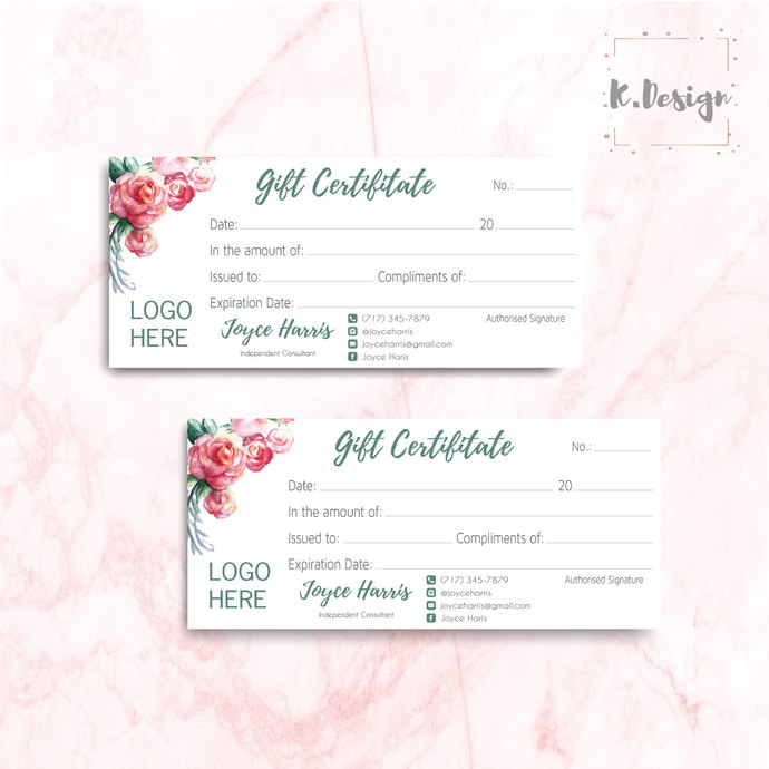 Arbonne Gift Certificate, Personalized Arbonne Gift Card, Arbonne AB01