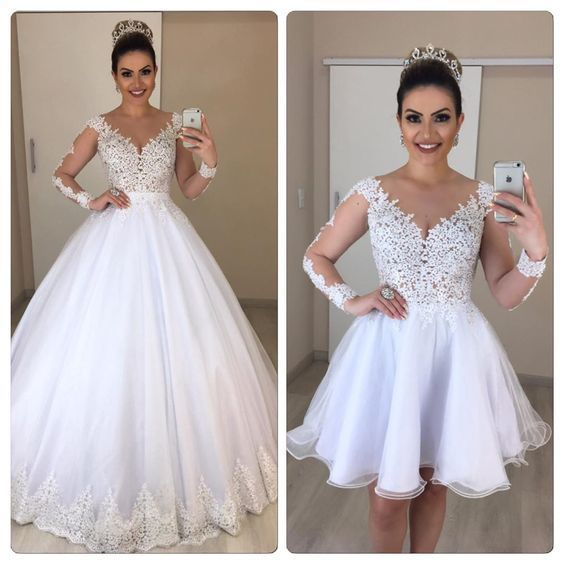 long sleeve white wedding dresses with removable train lace appliqué boho
