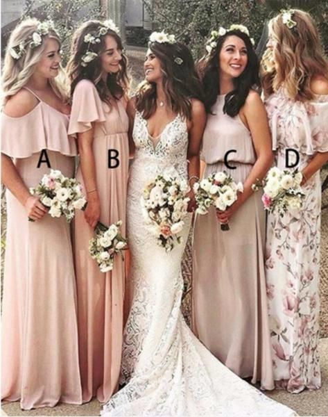mismatched bridesmaid dresses 2020 long chiffon printed elegant a line cheap