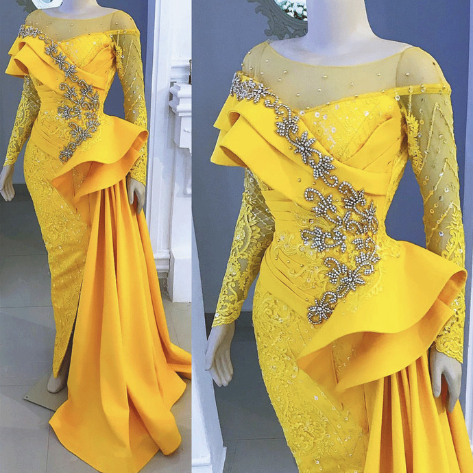 modest evening dresses long sleeve yellow lace applique beaded mermaid evening
