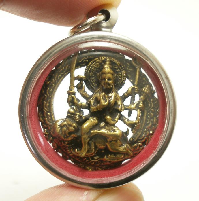 Maa Durga Uma Devi Kali Parvati ride Lion Hindu deity goddess amulet brass
