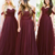 wedding guest dresses 2020 burgundy bridesmaid dresses off the shoulder cheap