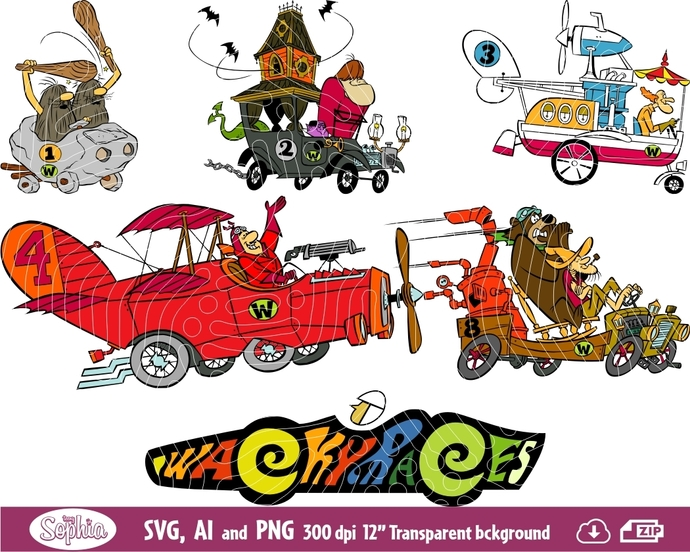 Wacky Races Cars 6 cliparts, Svg File for Cricut plus Ai and Png file to Edit or