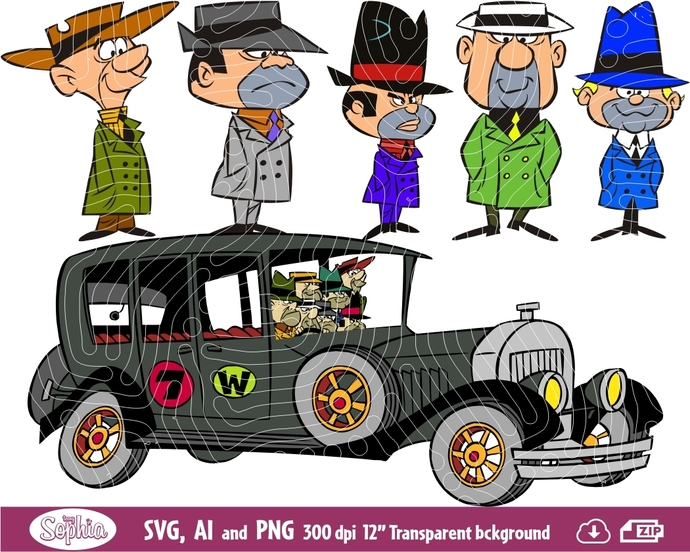 Wacky Races The Ant Hill Mob 6 cliparts, Svg File for Cricut plus Ai and Png