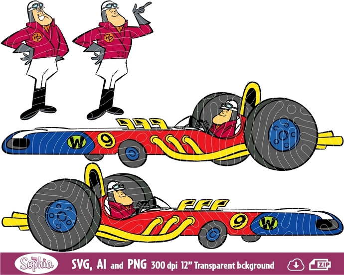 Wacky Races Peter Perfect 4 cliparts, Svg File for Cricut plus Ai and Png file