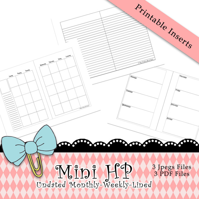 """""""Mini HP-Monthly-Weekly-Lined Inserts"""" Printable Download"""