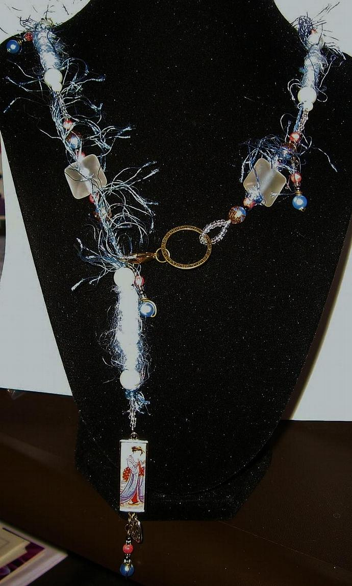 Lamp-work, Bronze, SemiPrecious Stone, Swarovski Pearl, Fiber Bead, Necklace Set
