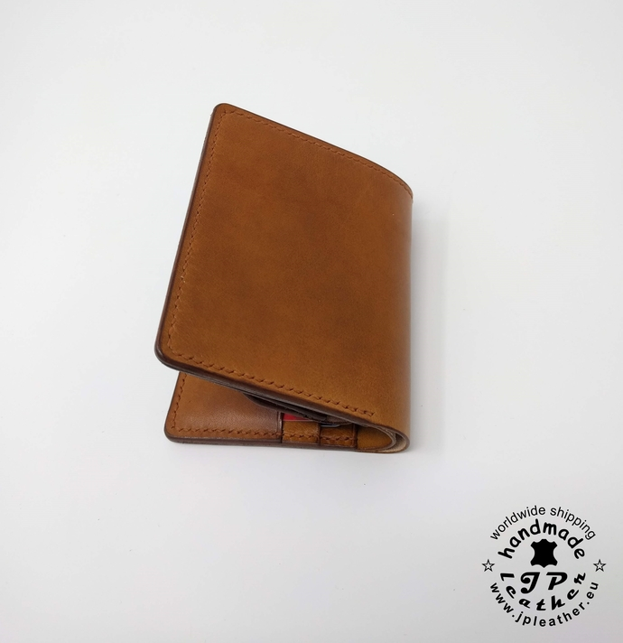 Handmade leather wallet - fullgrain veg-tan cowhide - cognac color