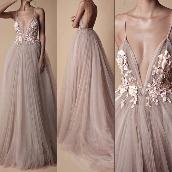 Charming Prom Dress,Tulle Prom Gown,V-Neck Evening Dress,Backless Prom Gown 0150