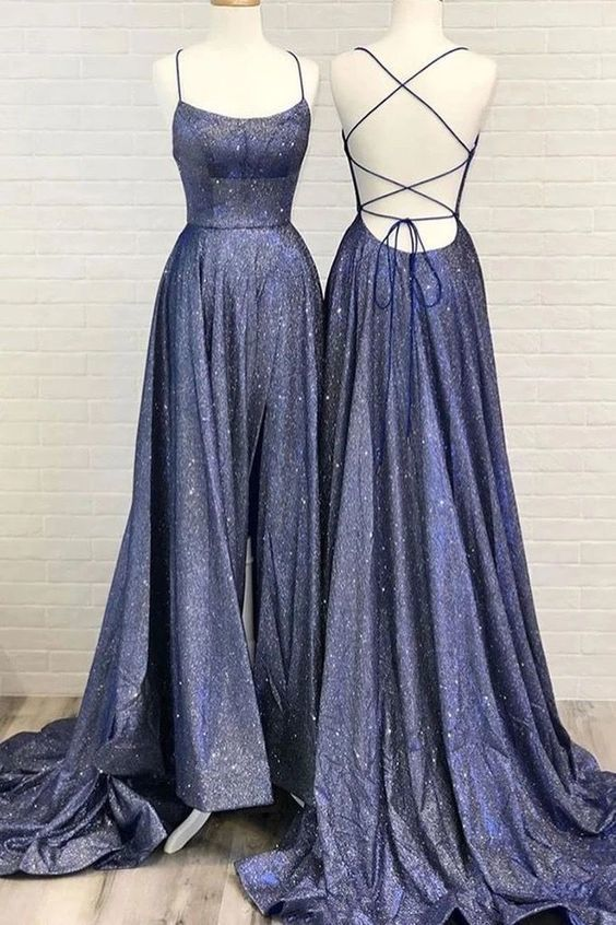 Charming Prom Dress,Satin Prom Gown,Spaghetti Straps Evening Dress,Backless Prom