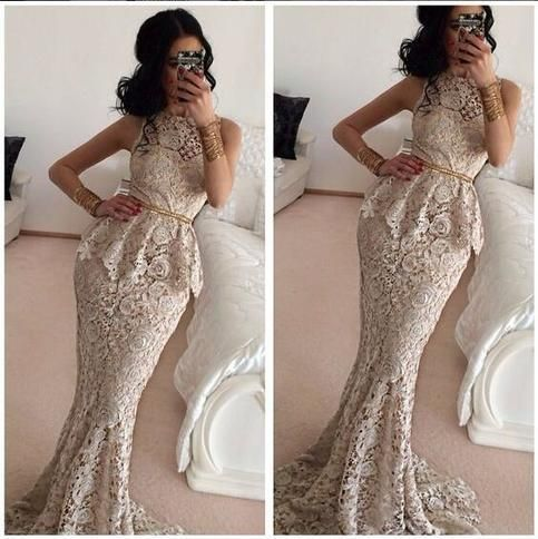 mermaid evening dresses long champagne lace appliqué elegant sleeveless cheap