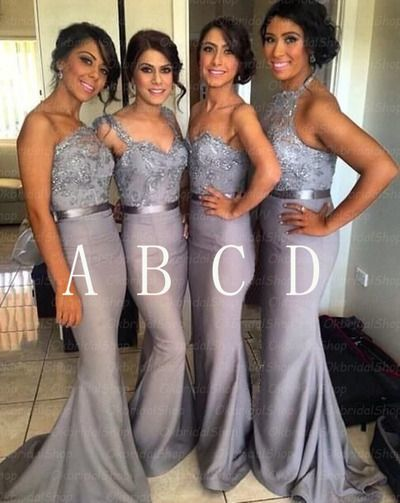 mismatched bridesmaid dresses long mermaid lace applique silver gray beaded