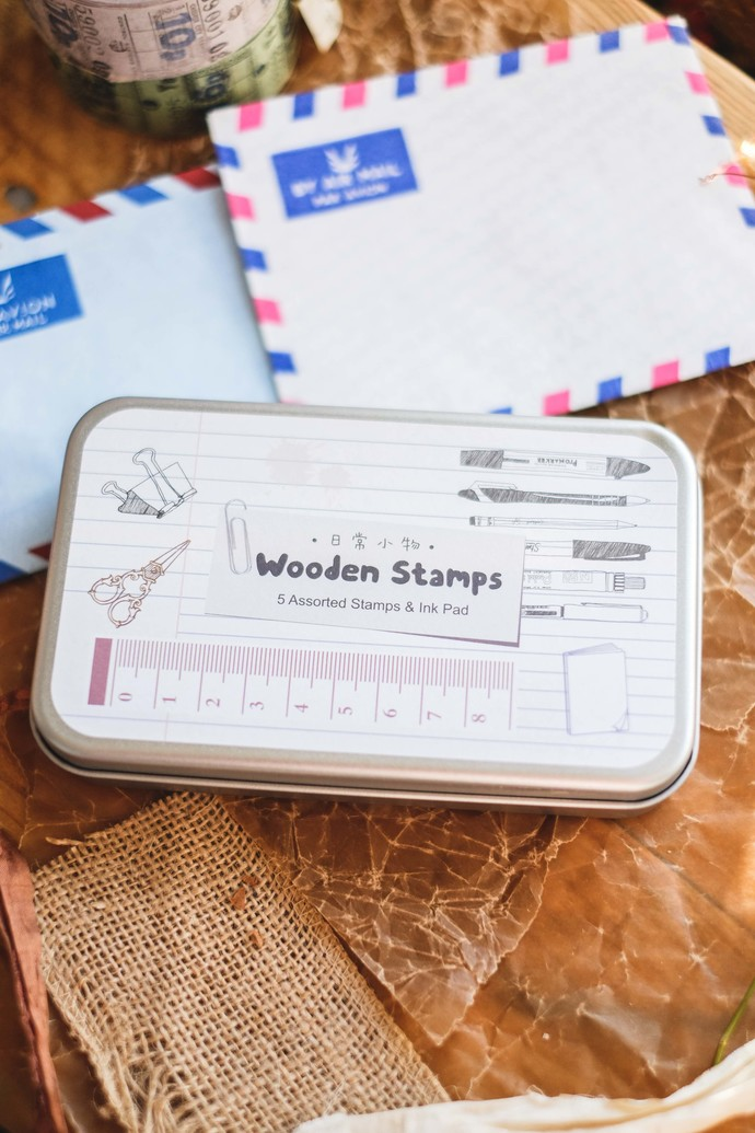 Fun & Joy wooden stamp set in a tin - Ruler - set of rubber stamps & ink pad