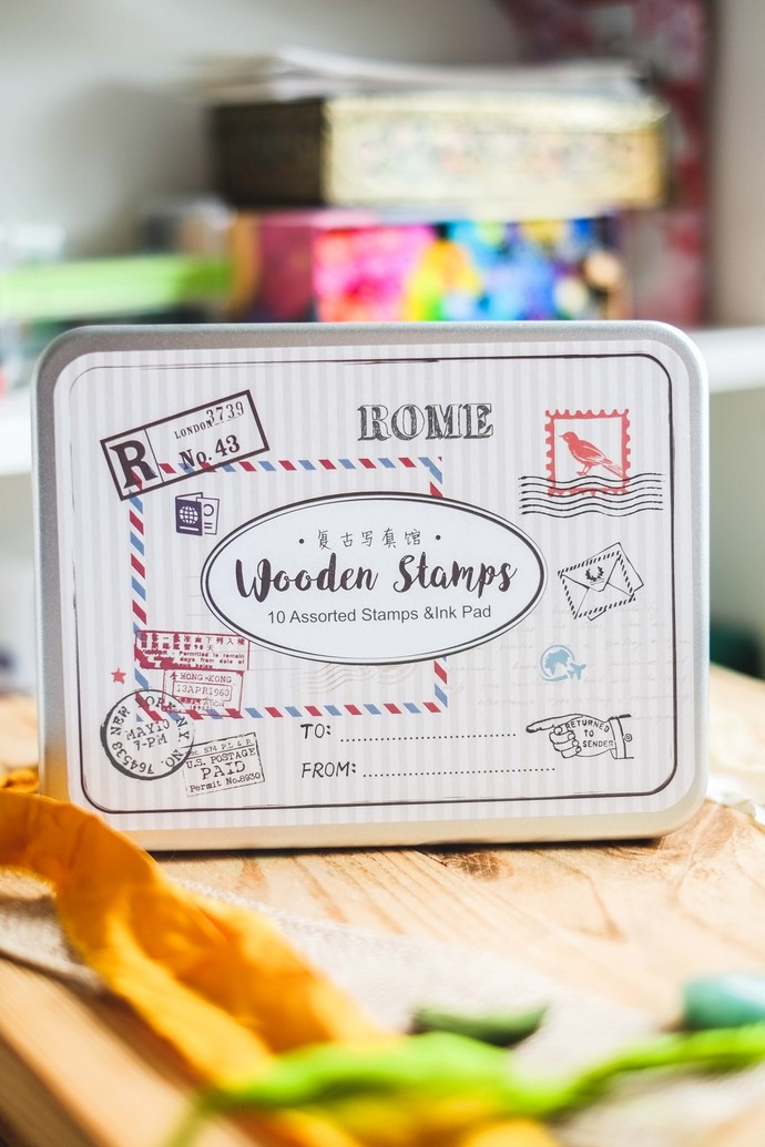 Fun & Joy wooden stamp set in a tin - Air Mail - set of rubber stamps & ink pad