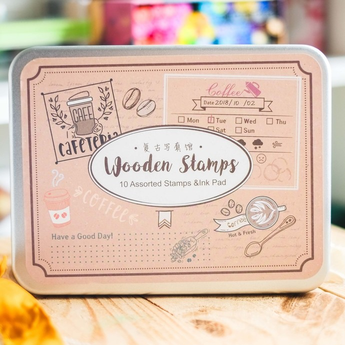 Fun & Joy wooden stamp set in a tin - Coffee - set of rubber stamps & ink pad