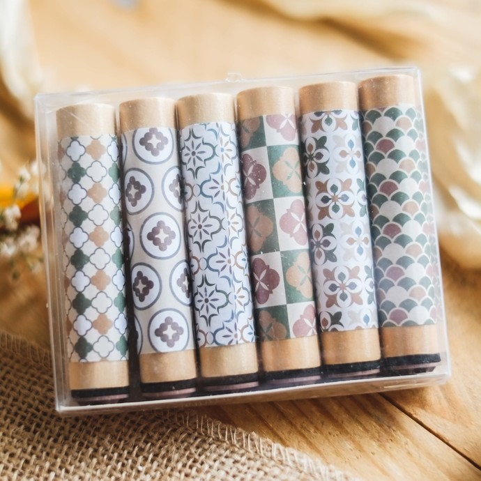 Fun & Joy wooden stamp set - 6 pattern stamps with long handle - A
