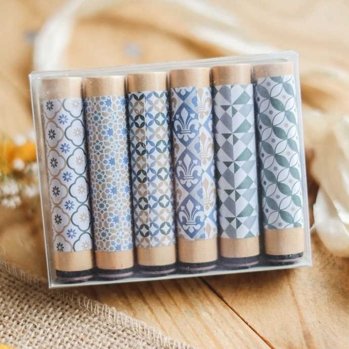 Fun & Joy wooden stamp set - 6 pattern stamps with long handle - C