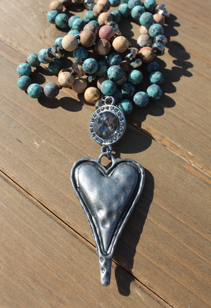 Long Heart Hand Knot Beaded Necklace Natural stone jewelry by KnottedUpJewelry