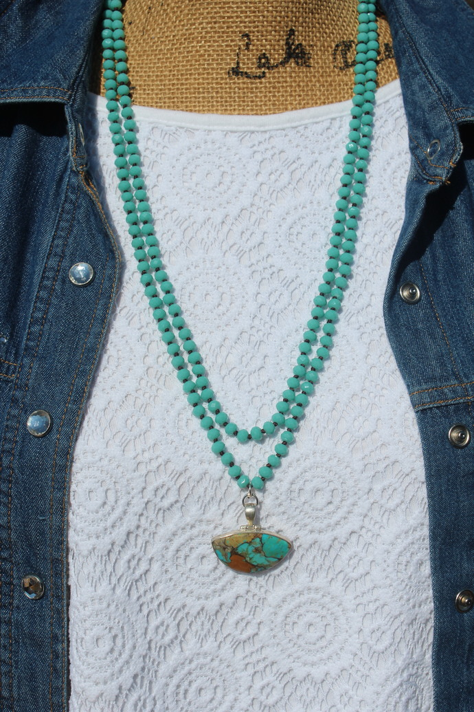 Turquoise Long Beaded Necklace Double wrap teal Necklace with pendant Indian