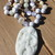 Mermaids Song Beaded Necklace 21 inches Hand Knot in Whites by KnottedUp