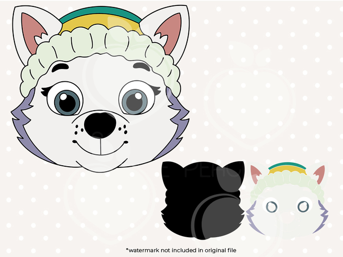 Paw patrol svg, Everest face svg, Paw patrol birthday printabes, cut files, dxf,