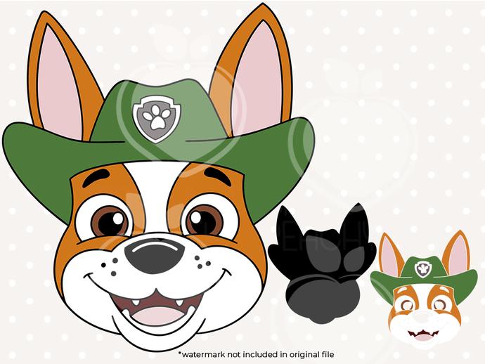 Paw patrol svg, Tracker face svg, Paw patrol birthday printabes, cut files, dxf,