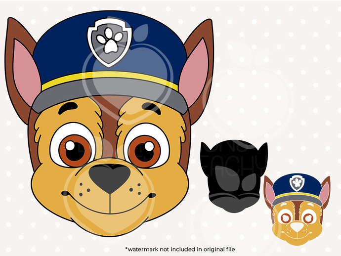 Paw patrol svg, Chase Face svg, Paw patrol birthday printabes, cut files, dxf,