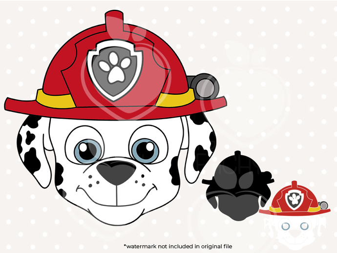 Paw patrol svg, Marshall face svg, Paw patrol birthday printabes, cut files,