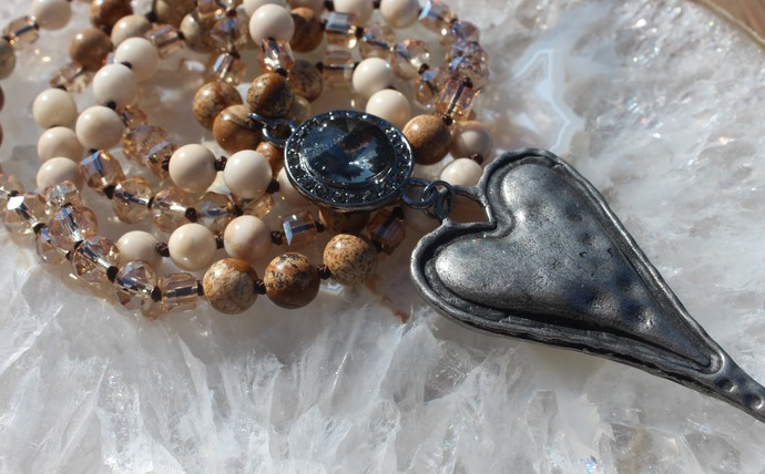 Long Beaded Necklace with Heart pendant Brown Boho Glam by KnottedUp