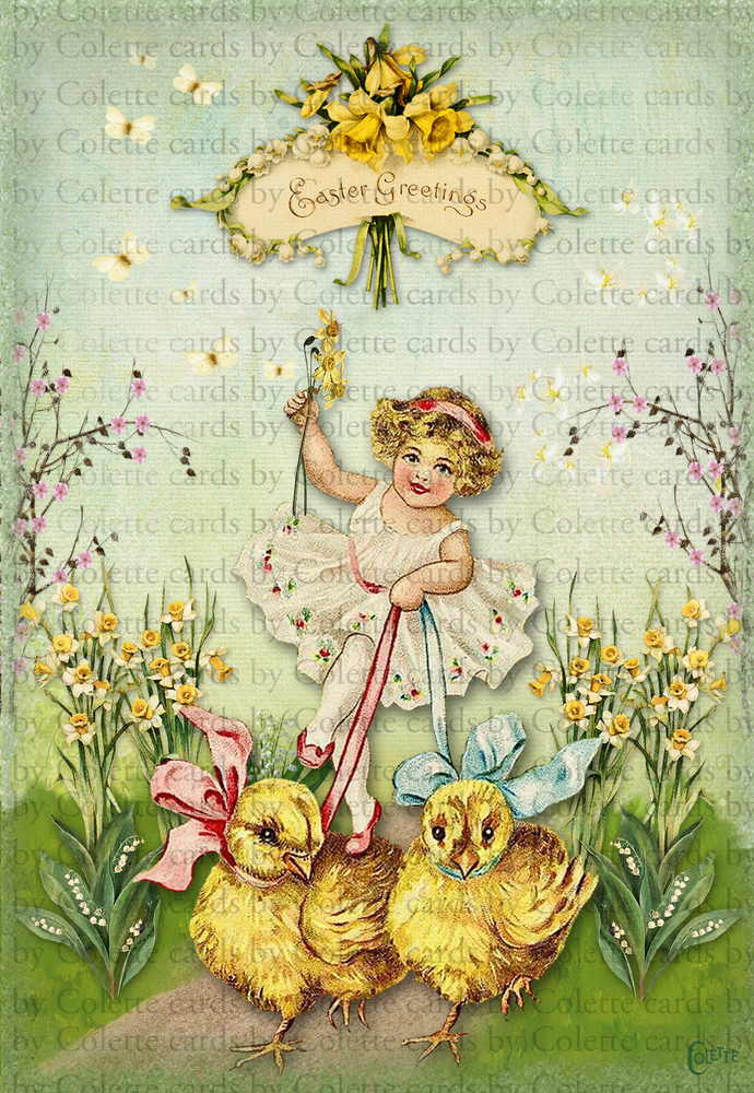 Easter Girl and Chicks Digital Collage Greeting Card2628