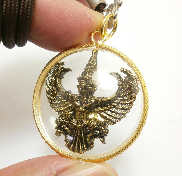 Phaya Krut Garuda magic Eagle bird Thai brass amulet pendant life protection