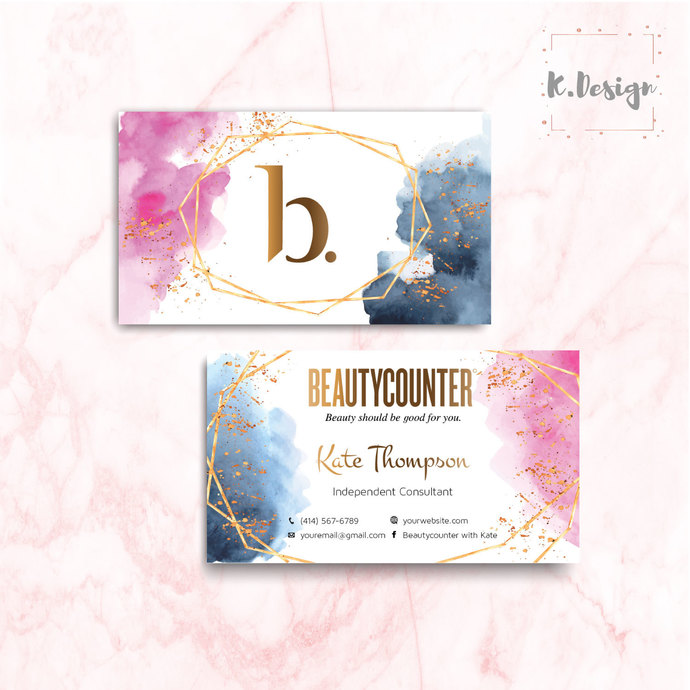 BeautyCounter Business Cards, Personalized BeautyCounter Cards BC03