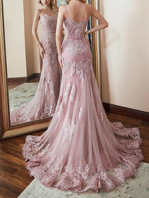 dusty pink lace evening dresses long mermaid applique elegant spaghetti straps