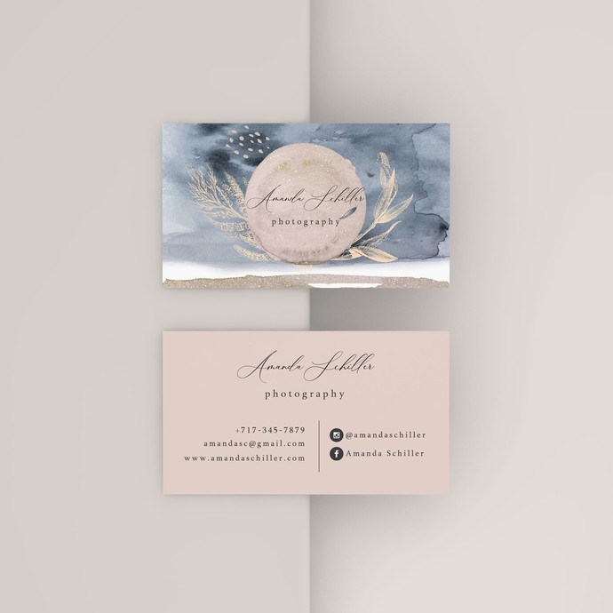 Printable Watercolor Business Cards, Blue Beige Business Cards, Independent