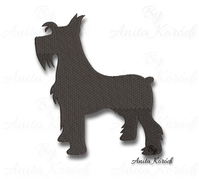 Schnauzer Embroidery Machine Designs Dog Silhouette Pes files animal pattern