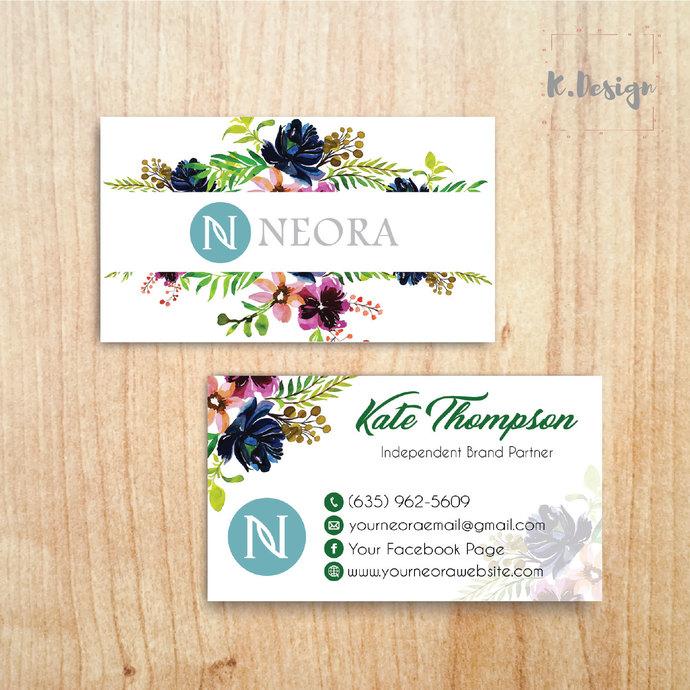 Neora Business Cards, Personalized Neora Template NE04
