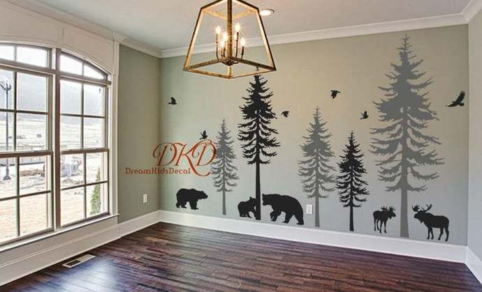Wall Decal Wall Sticker-Pine tree decal-set of 5 trees with animals, moose,