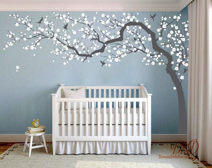 Wall Decal Charming Pink blossom tree, Cherry blossom Tree decal for Nursery