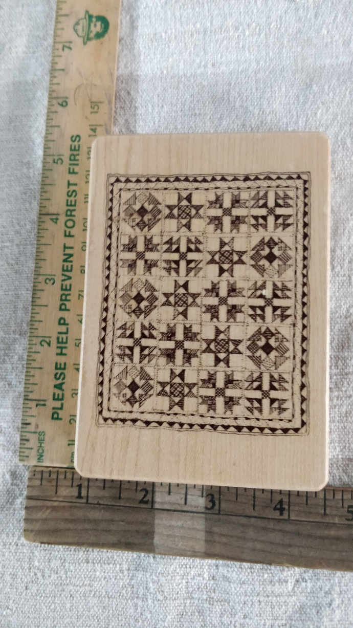Quilt Wooden Stamp wonderful for cards or a tag for your quilts, excellent