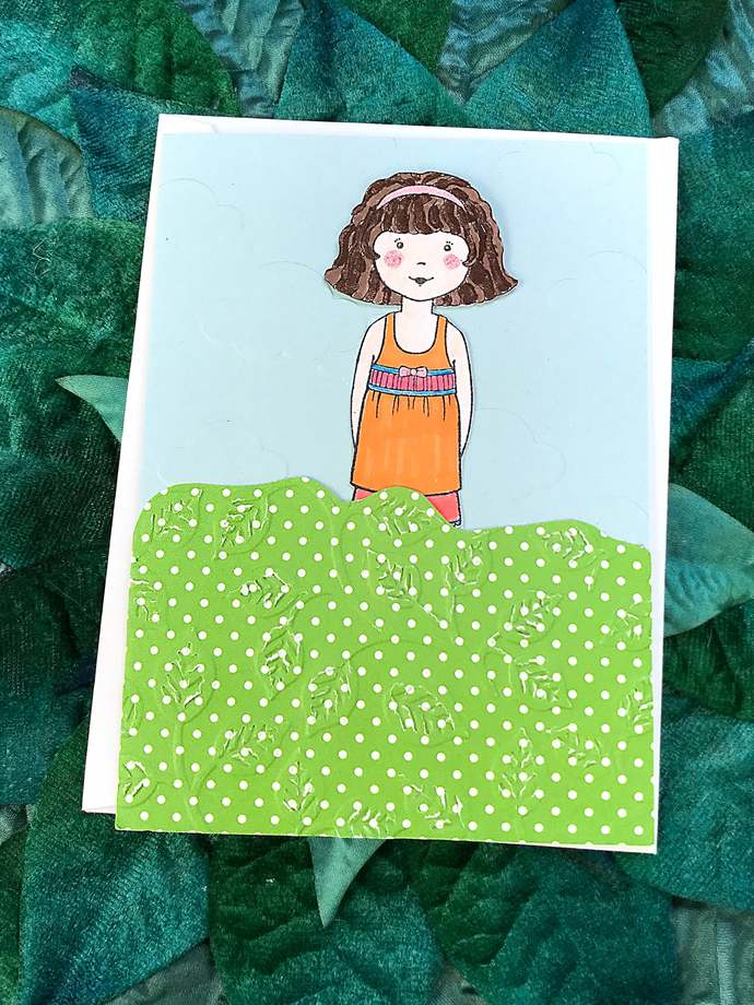 Old School Brunette Girl Paper Doll with 3 Outfits, Greeting Card, Birthday,