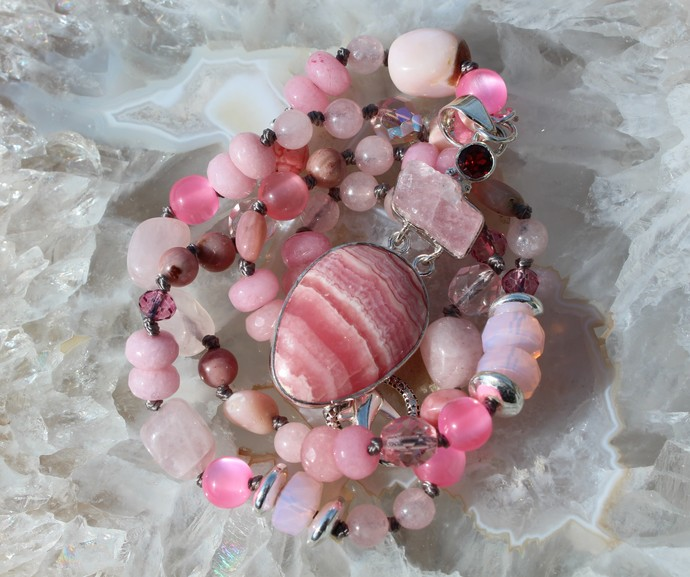 Pink Beaded Necklace with Pendant Hand Knot Boho Glam Natural Rhodochrosite