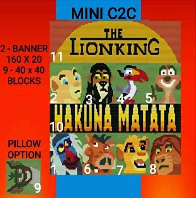 Lion KING Mini C2C 11 Patterns with Graph and Color Chart Instructions