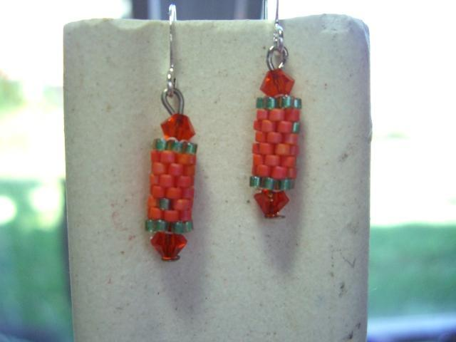 orange  beaded bead earrings