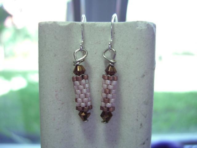 pale pink ab  beaded bead earrings