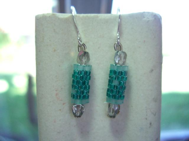 green  beaded bead earrings