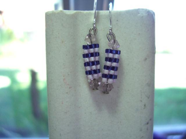 blue n lavender  beaded bead earrings