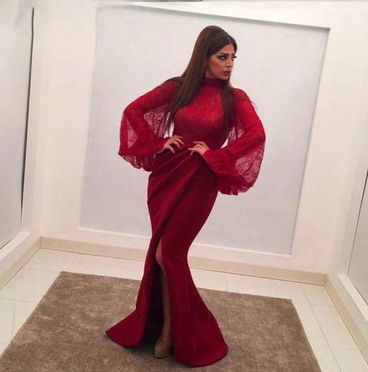 flare sleeve Burgundy evening dresses long mermaid pleated lace appliqué elegant