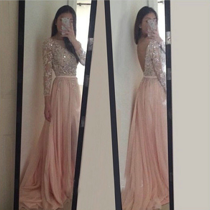 Fashion Pink Prom Dresses, Long Sleeves Beading Crystal Chiffon Prom Dress