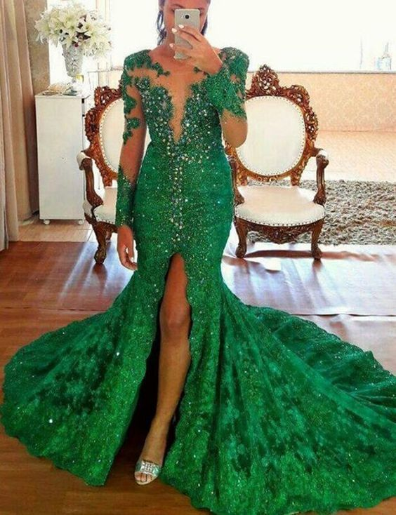 mother of the bride dresses green lace appliqué evening dresses long sleeve